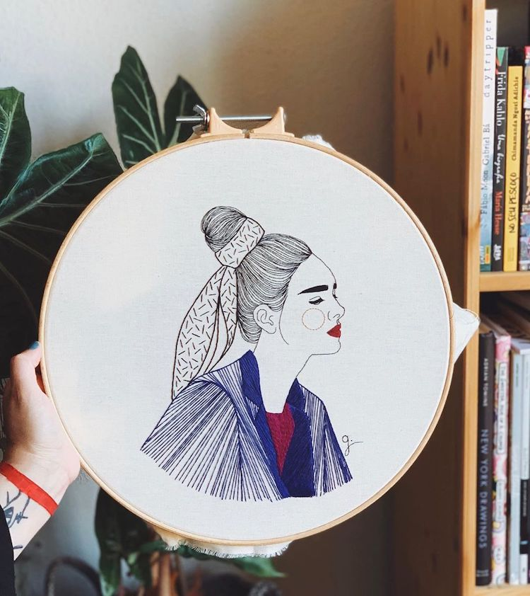 Contemporary embroidery by Giselle Quinto