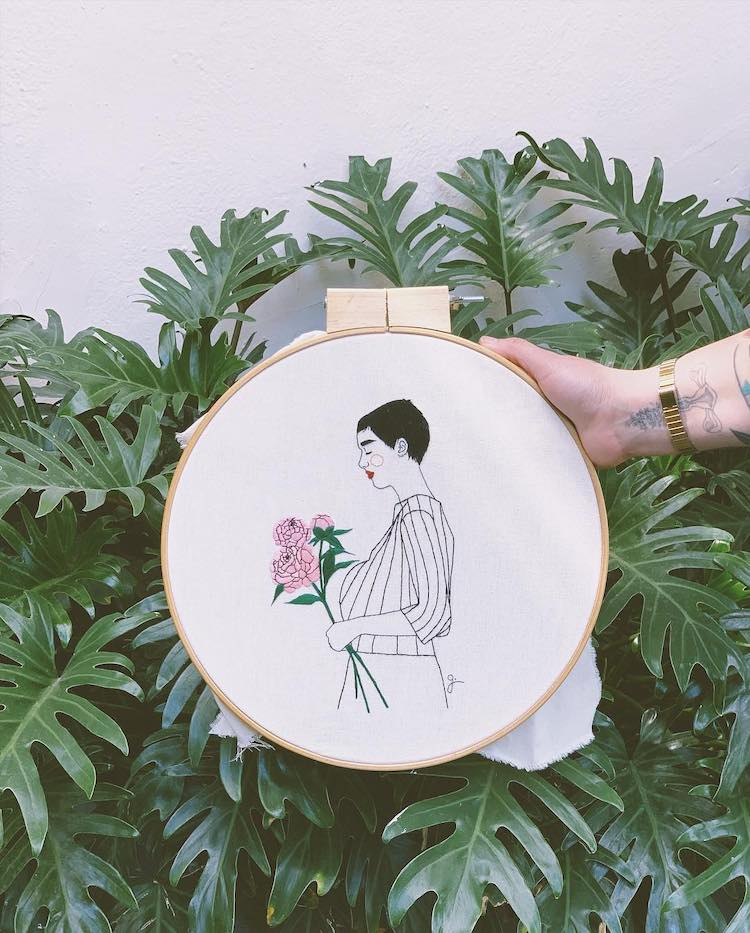 Embroidery art by Giselle QUi