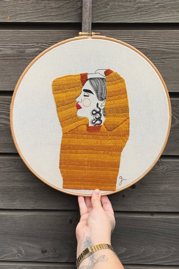 Hand-stitched embroidery portrait by Giselle Quinto