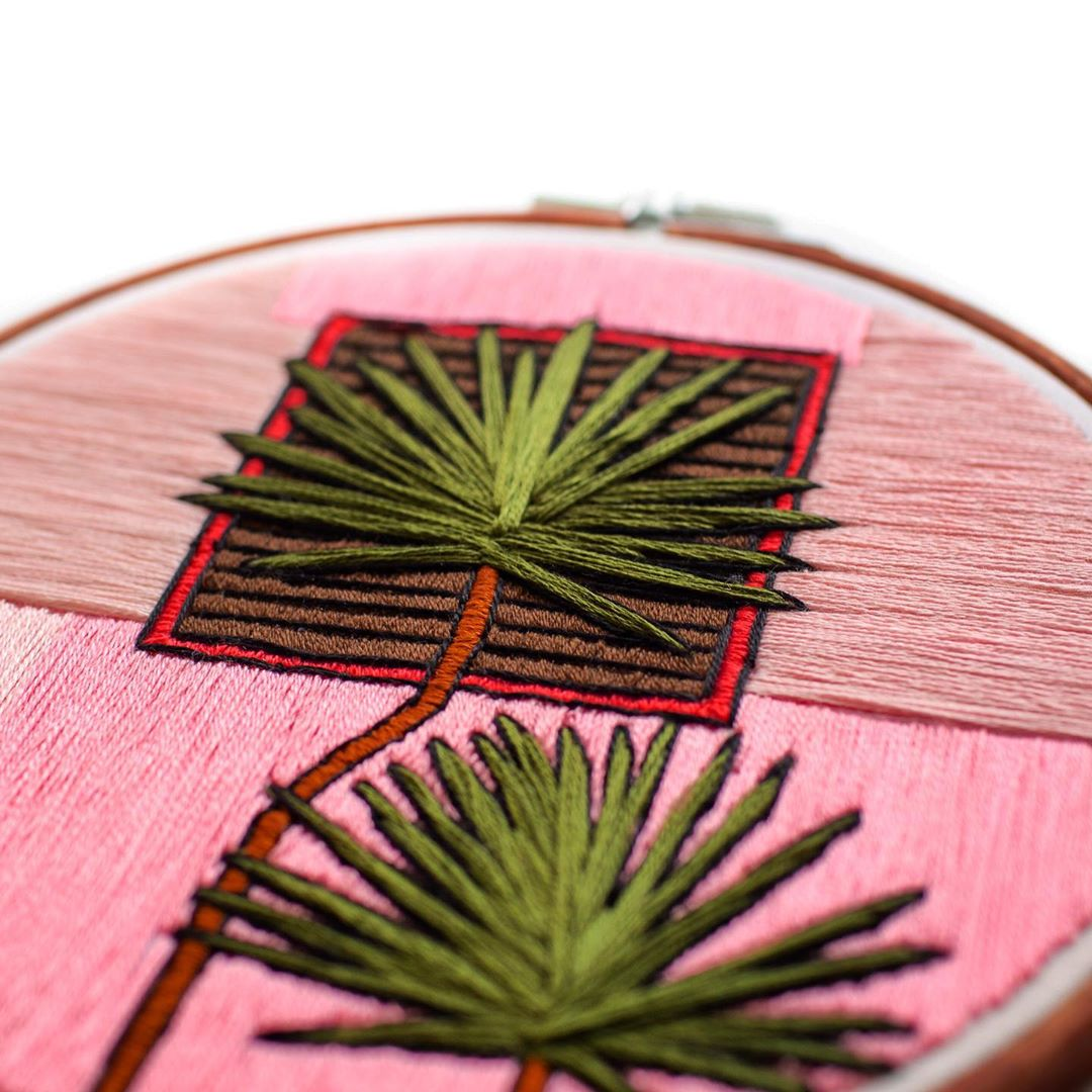 Plants on pink embroidery