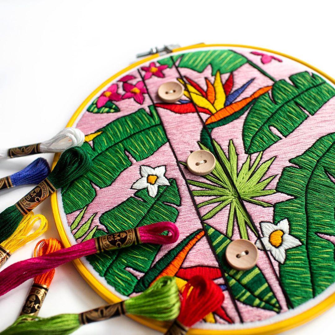 Hawaiian shirt pattern embroidery