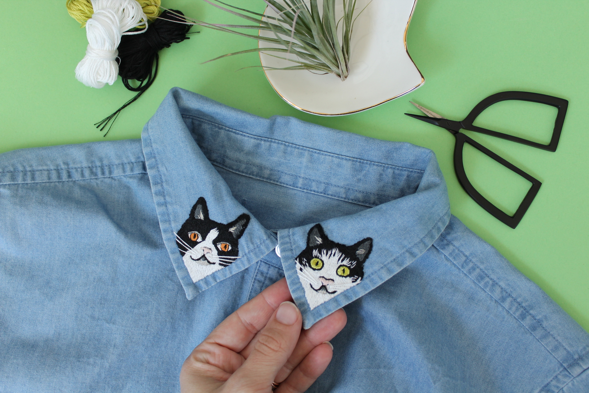 Embroidered collars with cats on them