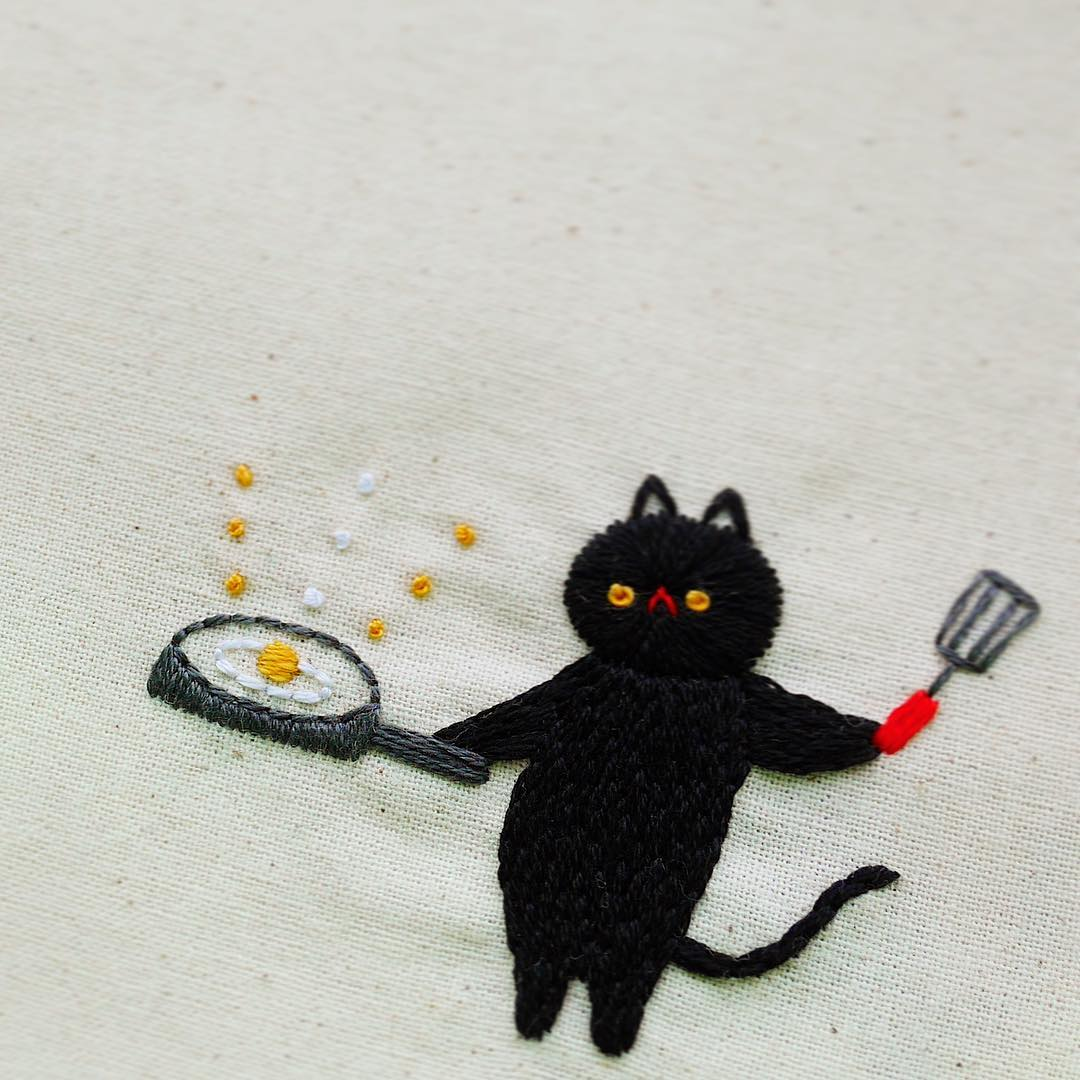 Funny cat embroideries by Nyang Stitch