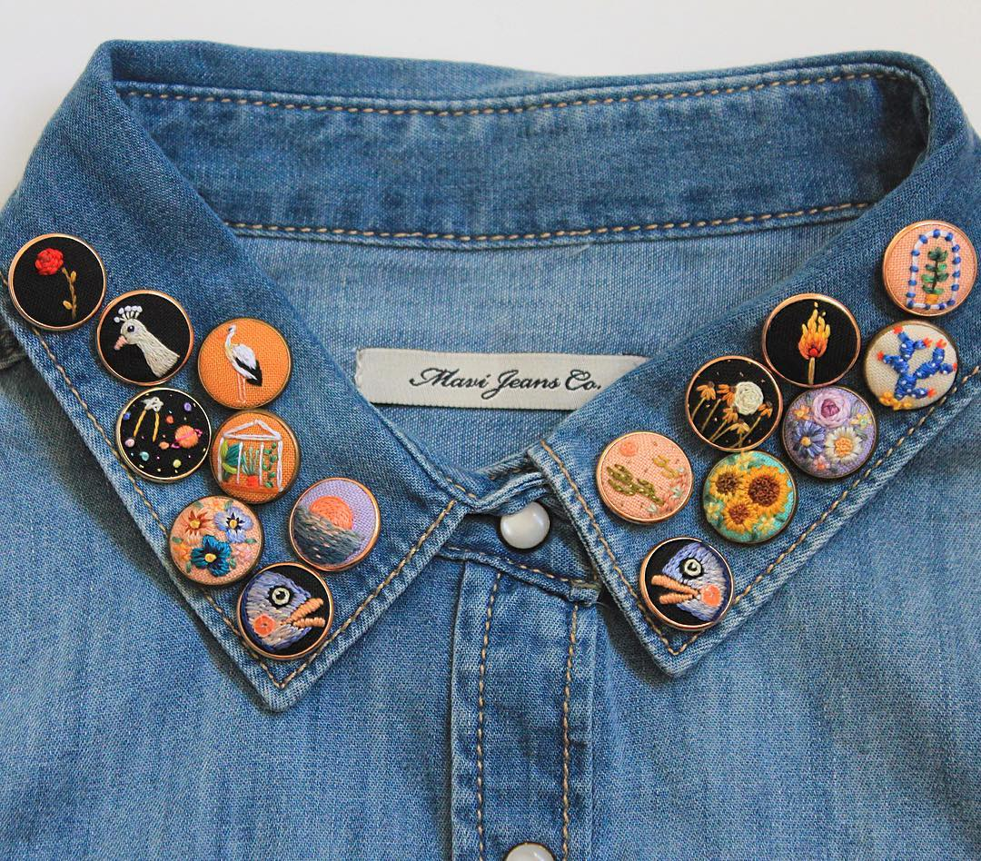 Embroidered pins by Irem Yazici