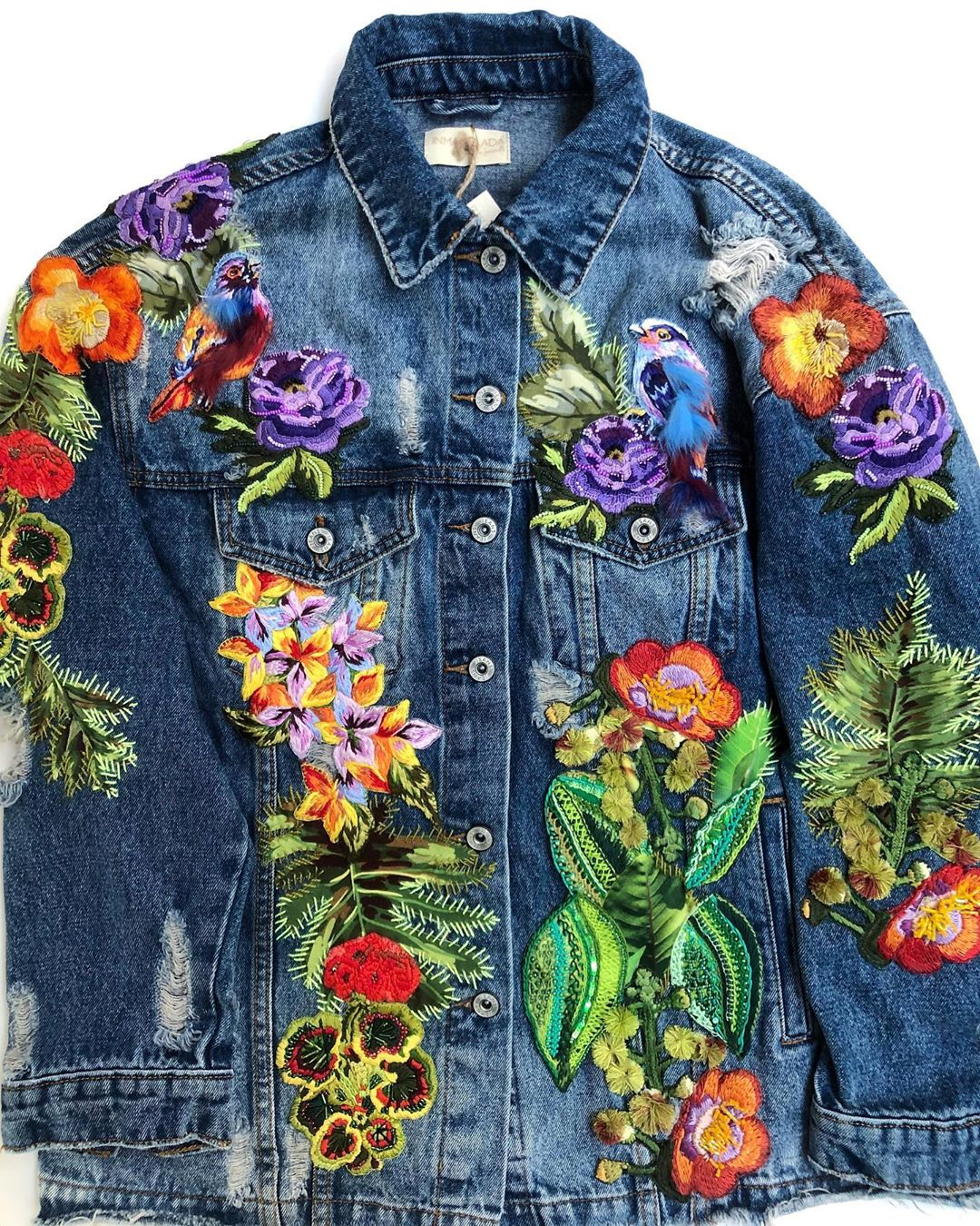 Colorful Embroideries Transforms Humble Denim Jackets into Wearable Works of Art