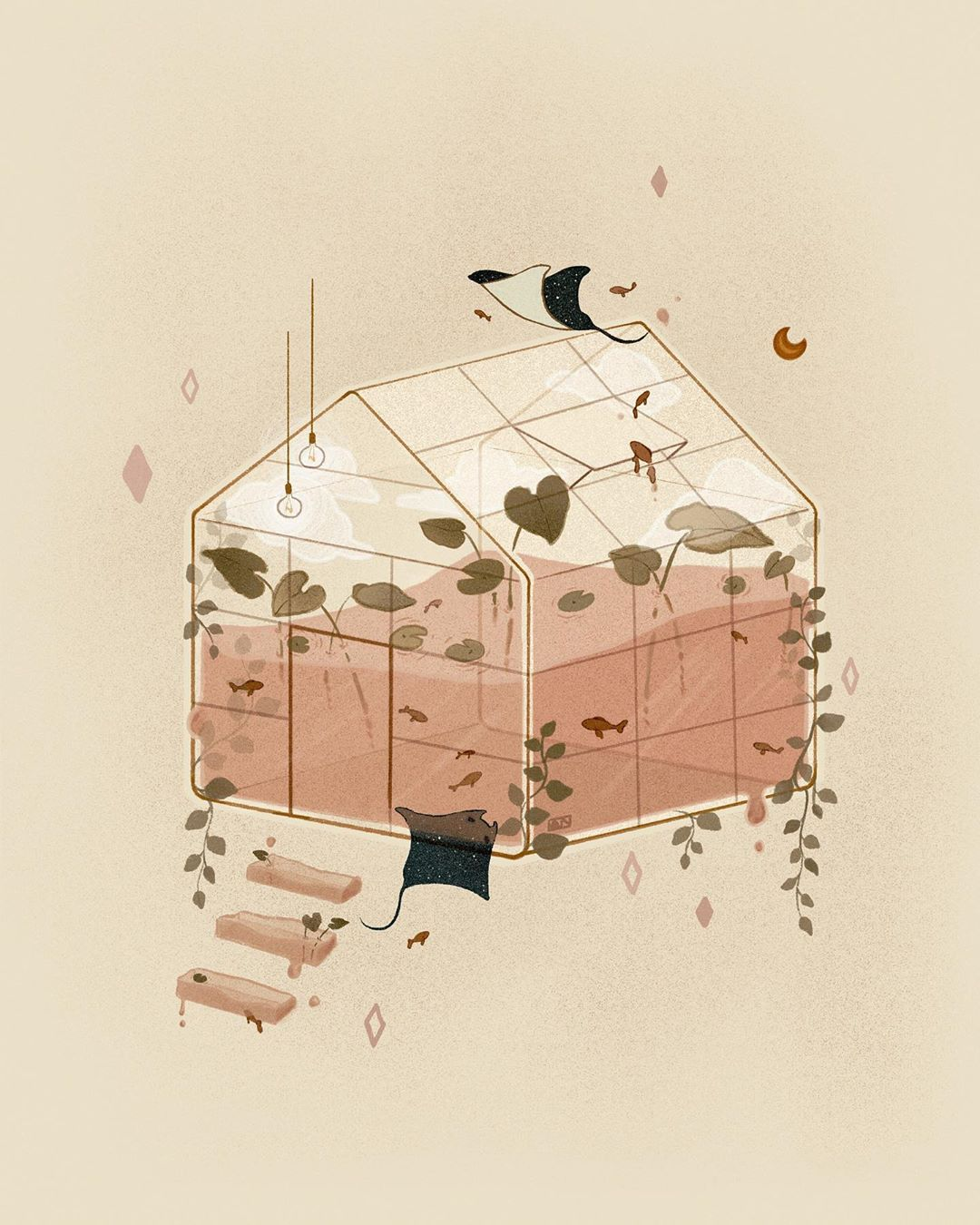 Surreal illustration by Angie Nguyen