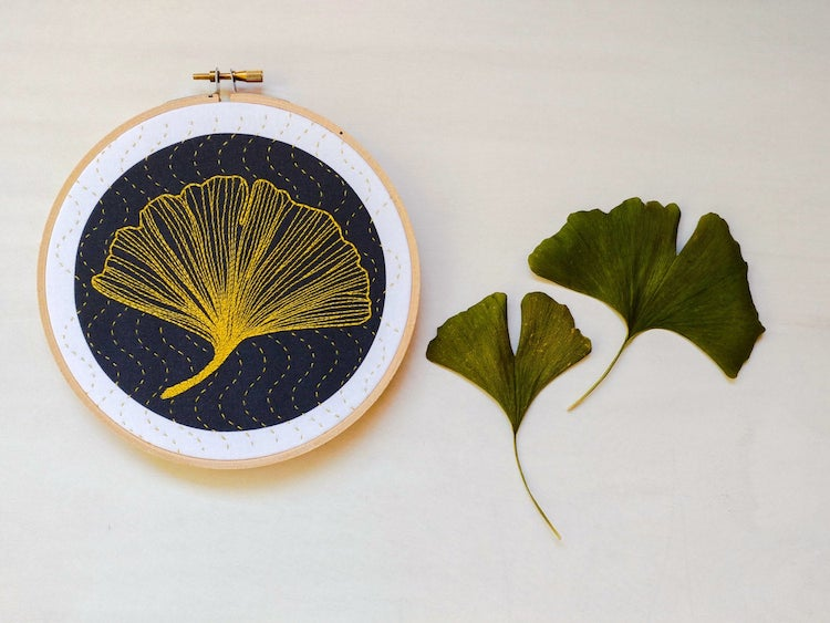 Ginko leaf embroidery kit