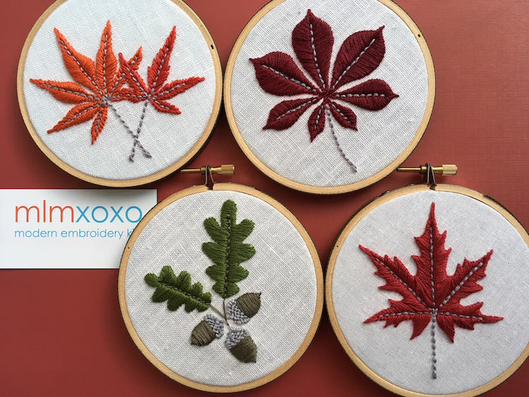 Fall leaf embroidery patterns