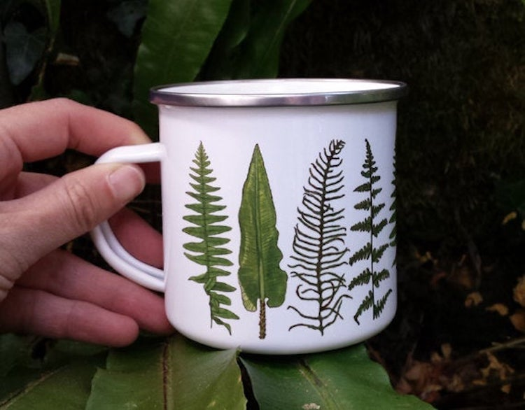 Illustrated enamel mug
