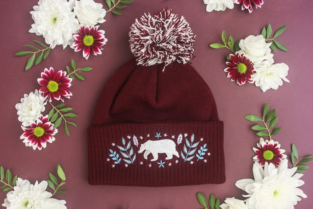 Polar bear embroidered hat