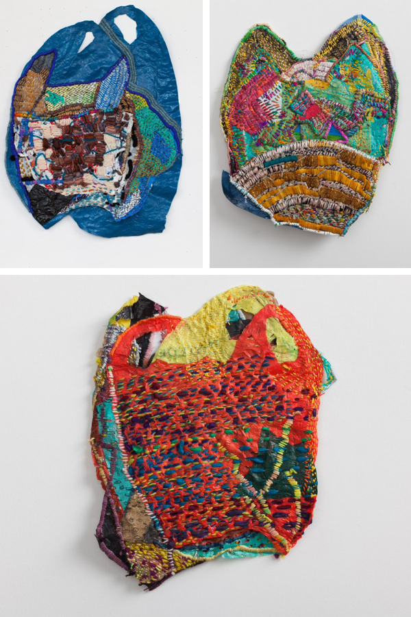 Hand embroidery on a plastic bag by Josh Blackwell