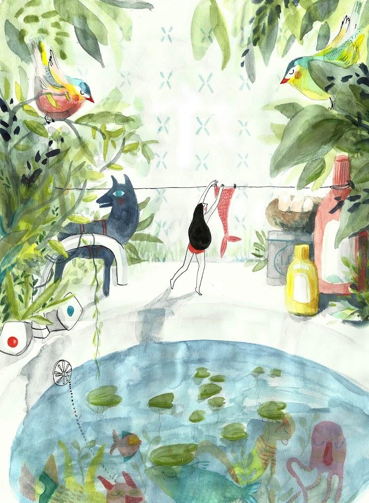 Mermaid illustration art Clemence Monnet