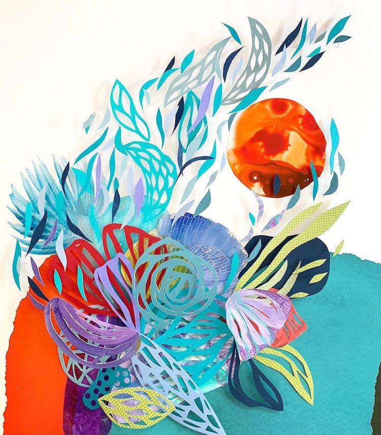 Cut paper collage by Maggie Ramirez Burns