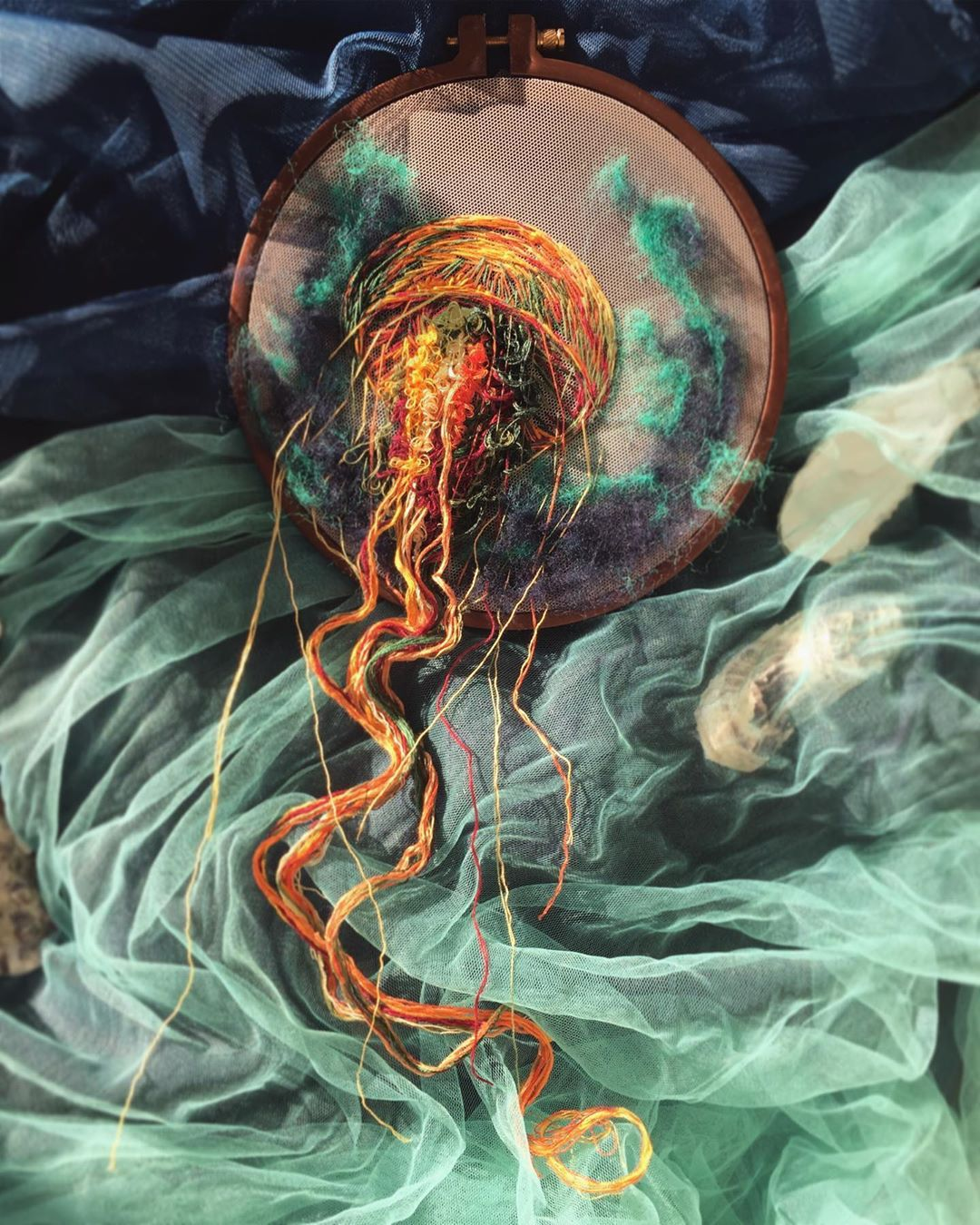 Embroidered Jellyfish Have Tendrils Extending Beyond the Hoop for the Fluidity of the Real Thing