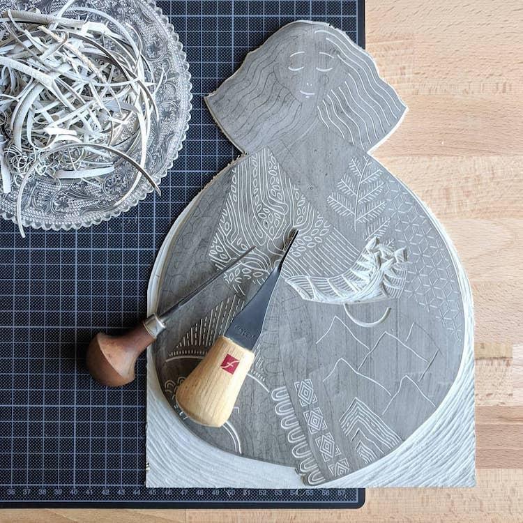 Block printing by Sofie van Schadewijk