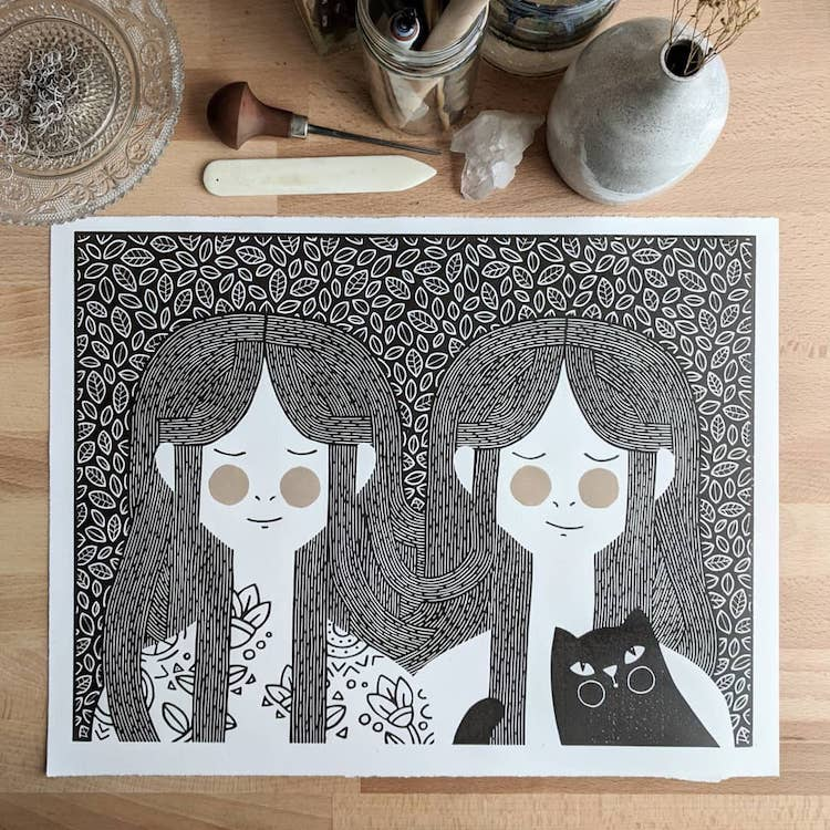 Lino cut printed illustrations by Sofie van Schadewijk