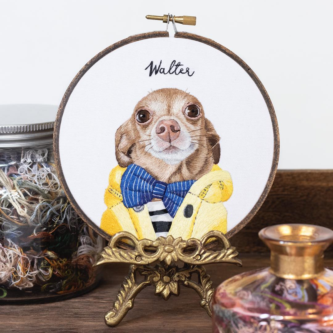 Hand embroidery pet portraits