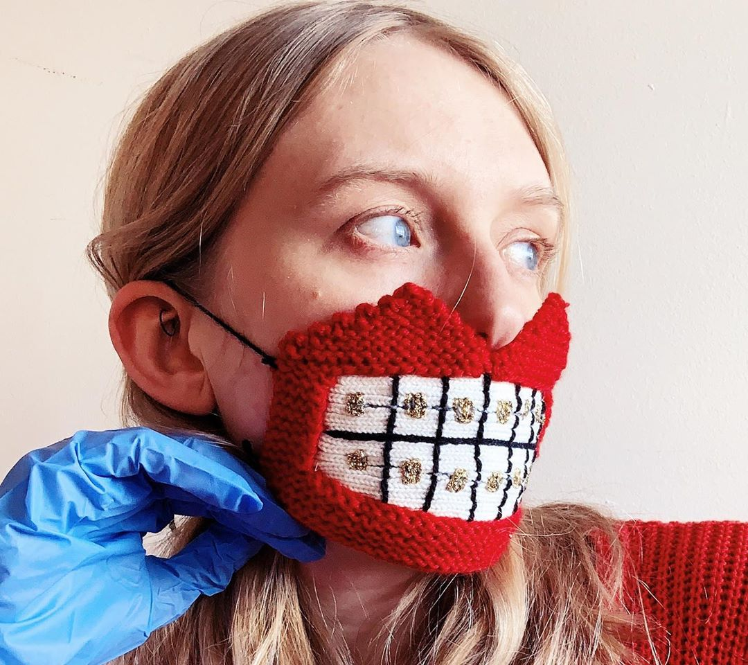 Decorative Face Masks Playfully Encourage Social Distancing with Their Bizarre Knittings