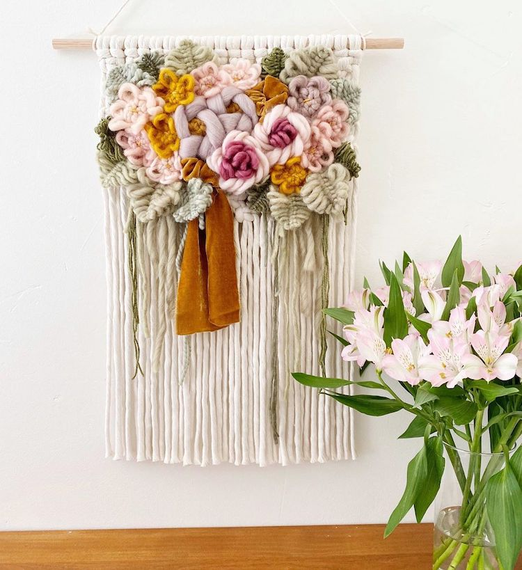 Modern Macrame Wall Hangings Display Colorful Flowers That Will Never Wilt