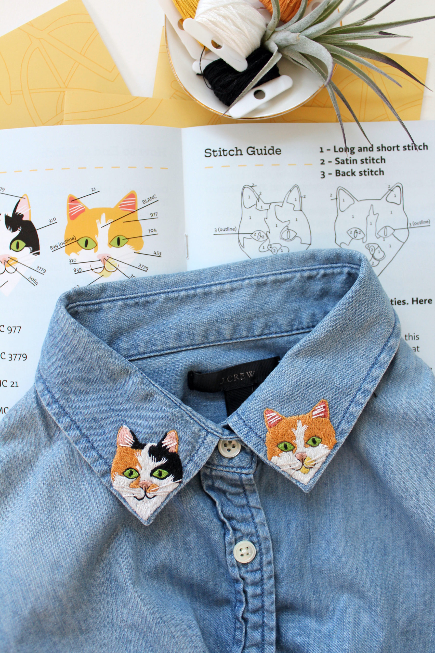These Embroidery Kits Have Everything You Need to Stitch Two Cats on a Shirt