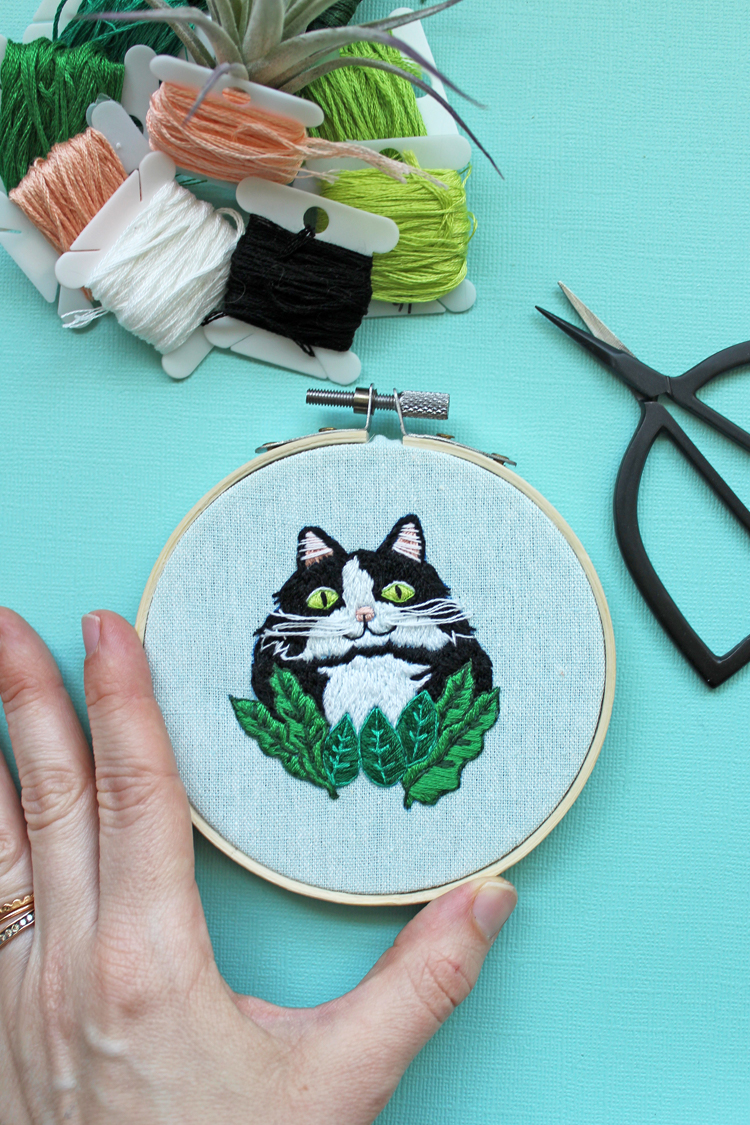 Download a FREE Embroidery Pattern Inspired by Kitties and Calathea Plants
