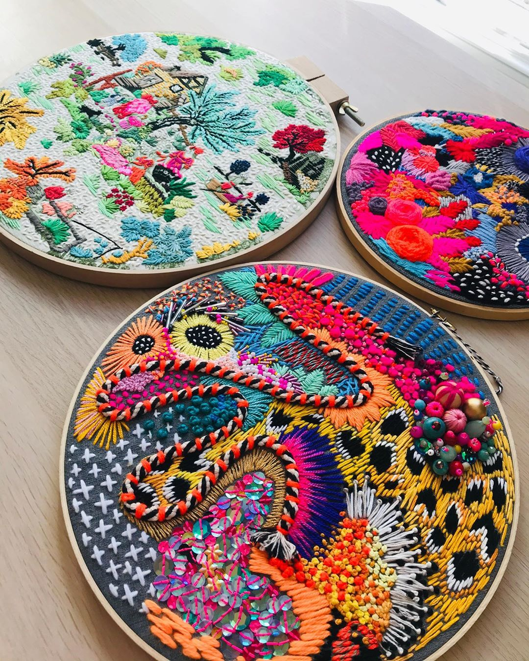 Hand embroidery art by Daniela Cermenati