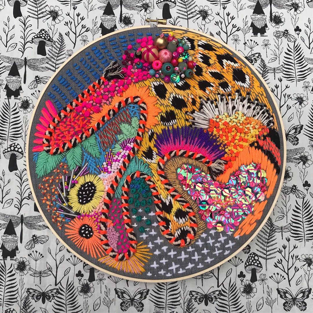 Hand embroidery art by Daniela Cermenati