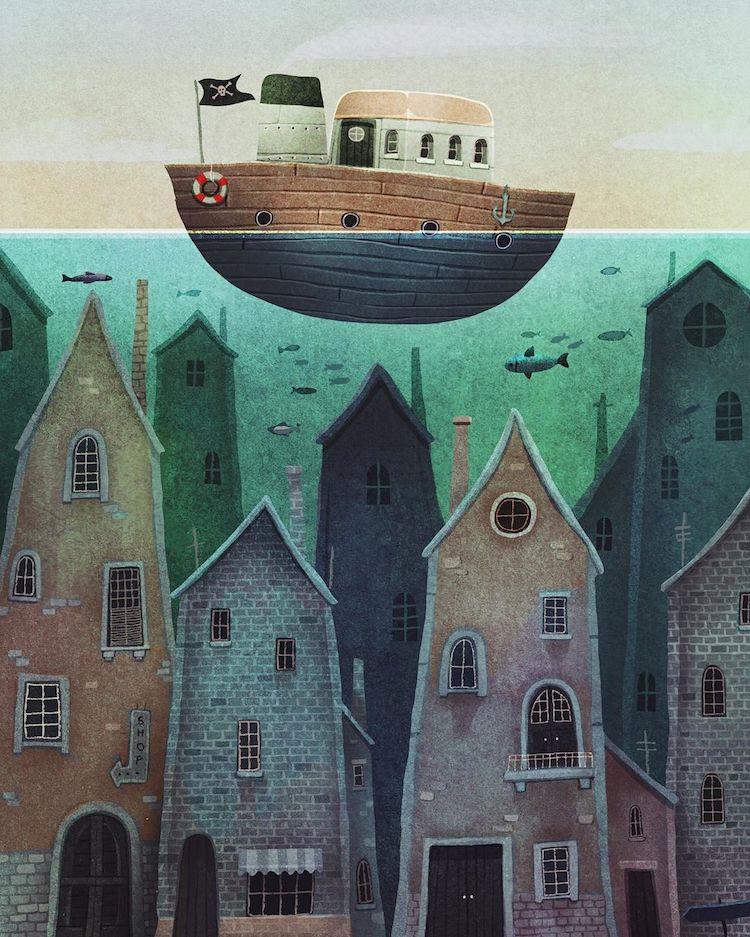 Cityscape illustration by Francisco Fonseca