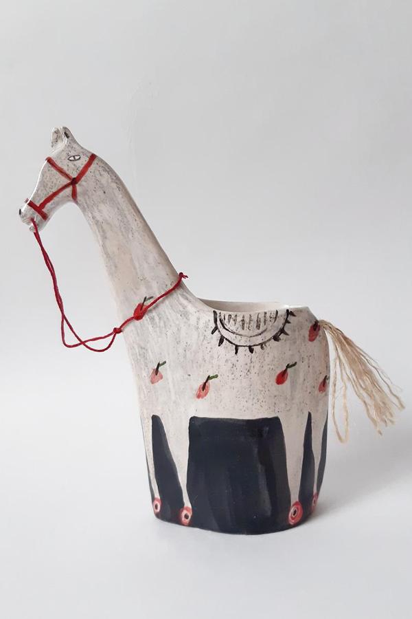 Horse ceramic vase