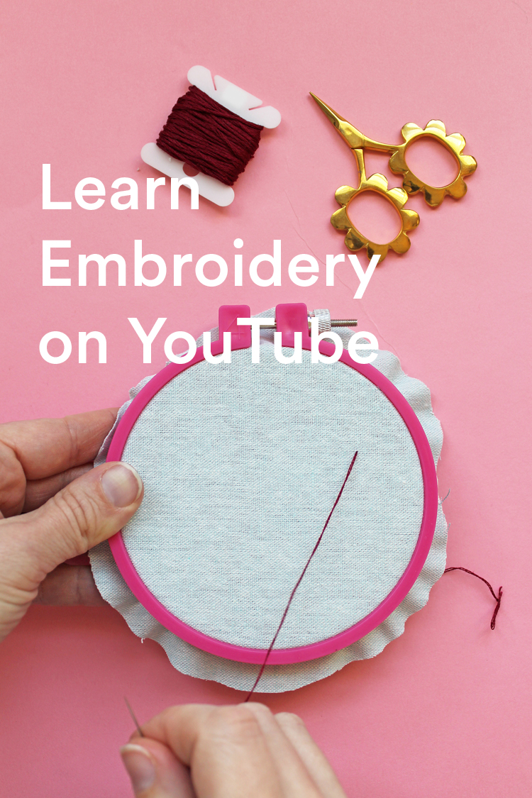 Learn embroidery on YouTube