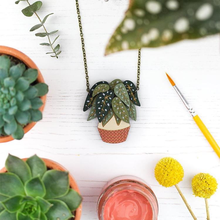 Celebrate Your Favorite Houseplants With These Hand-Painted Wooden Necklaces