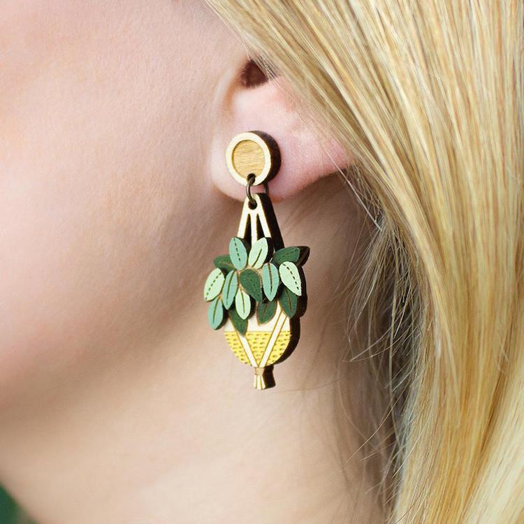 Houseplant wooden earrings