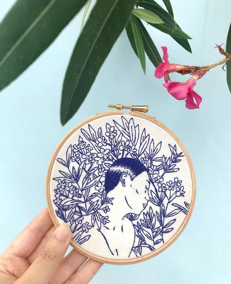 Embroidered hoop art by Fukanō Kanō