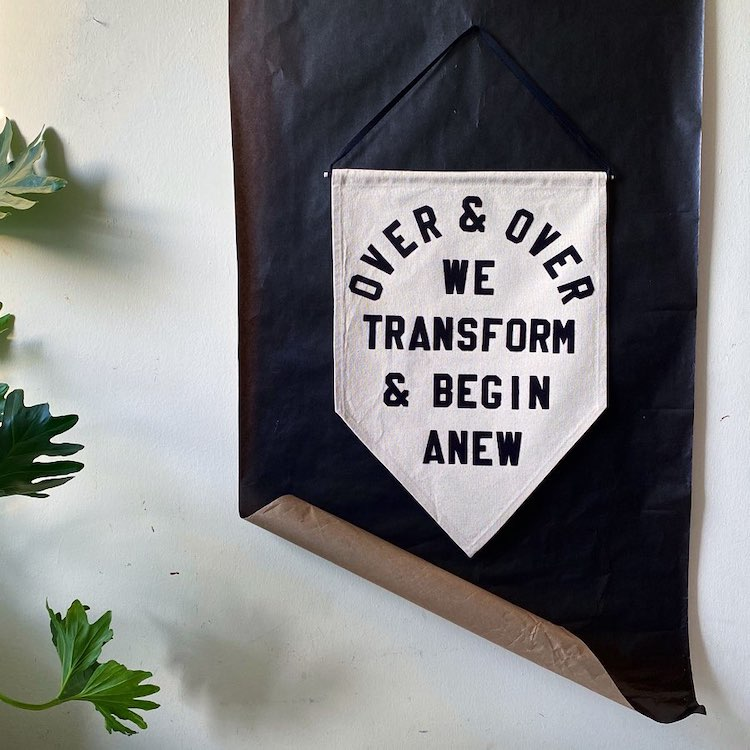 Handcrafted hanging banner by Rayo and Honey