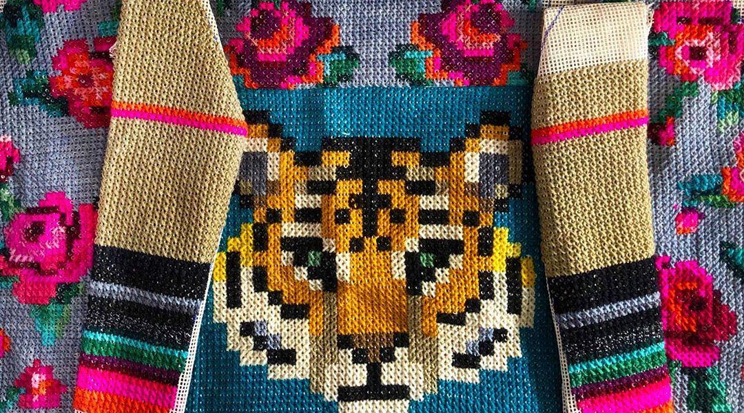 Cross stitch embroidery art by Ignacia Jullian