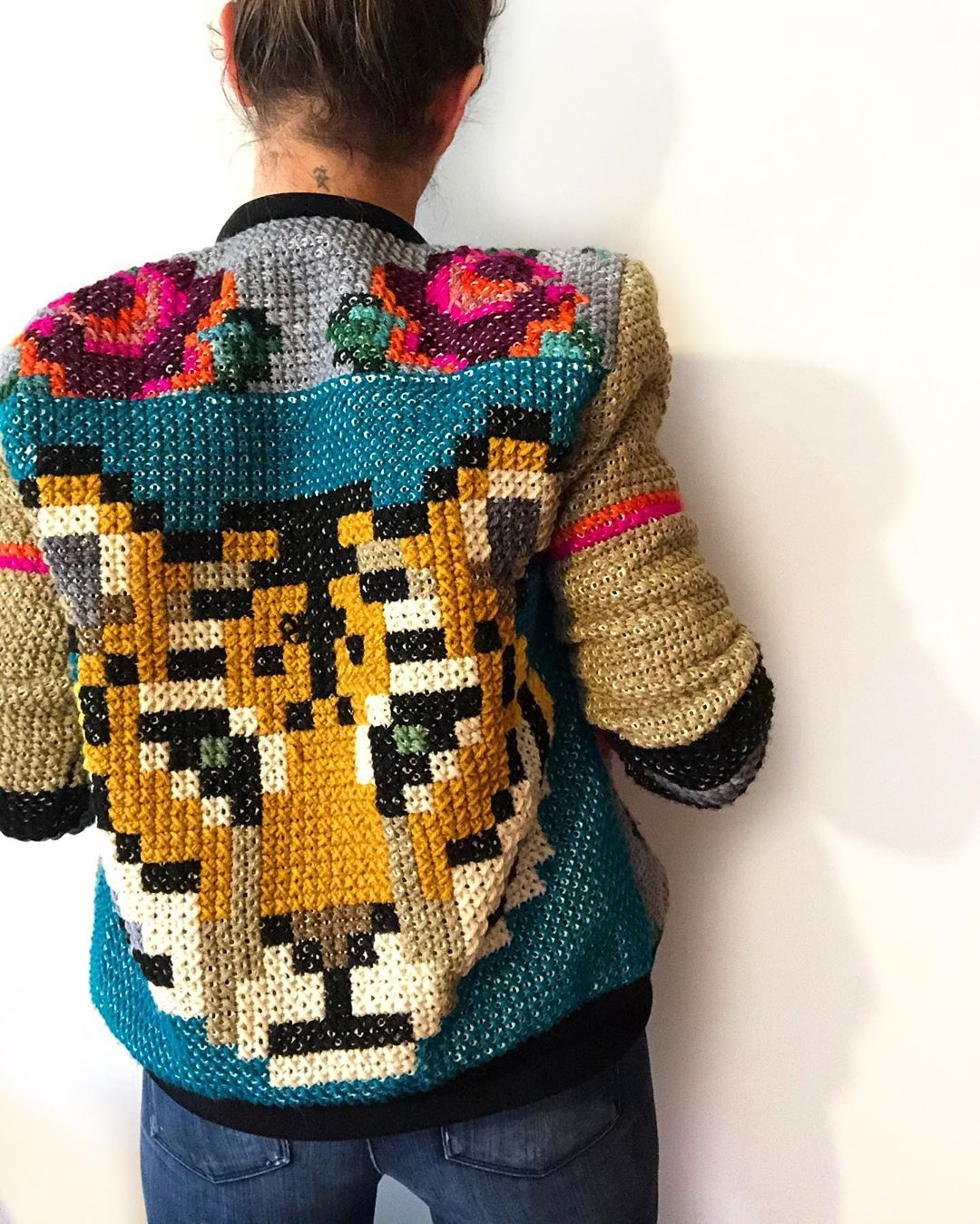 This Statement-Making Jacket is Made Using Cozy Cross Stitch