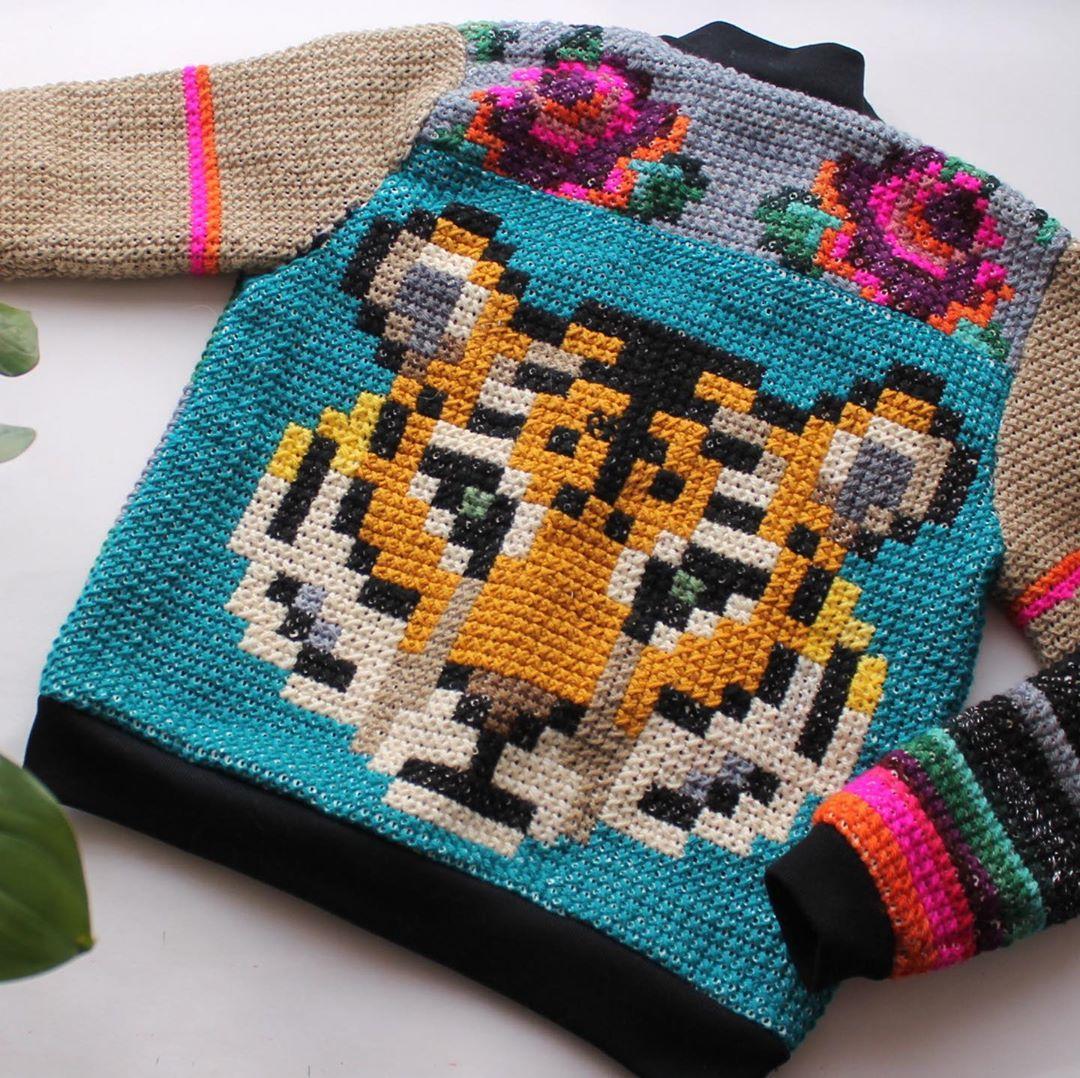 Cross stitch jacket by Ignacia Jullian and Manosalaaguja
