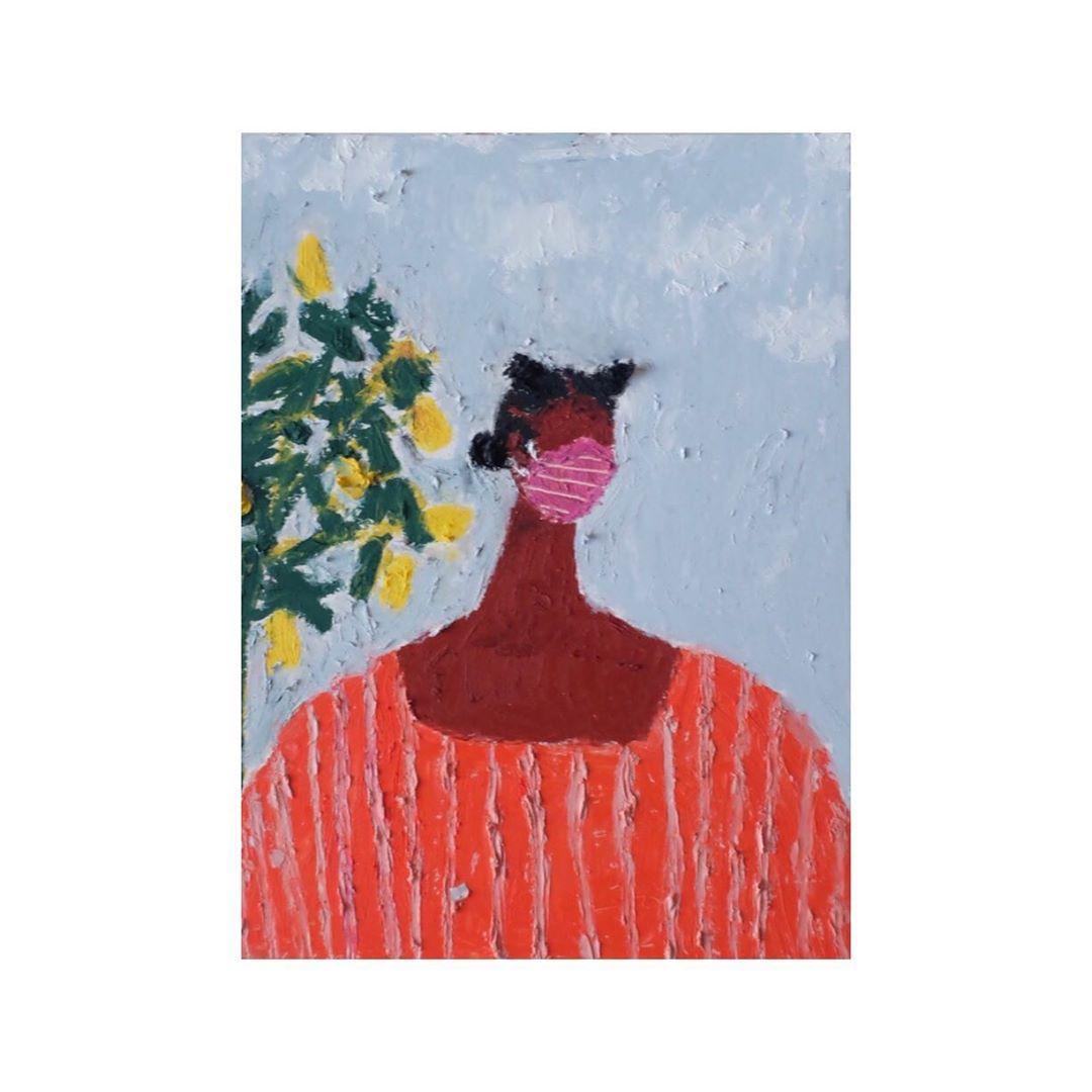 Oil pastel portrait of a woman