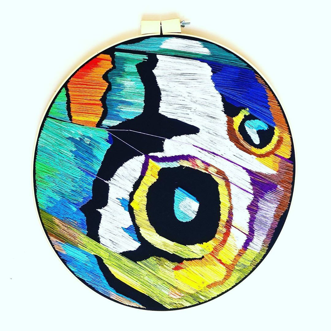 Butterfly wing contemporary hoop art