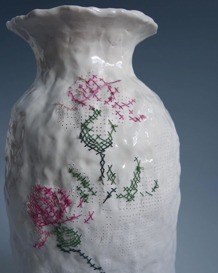 Embroidered ceramics by Caroline Harrius