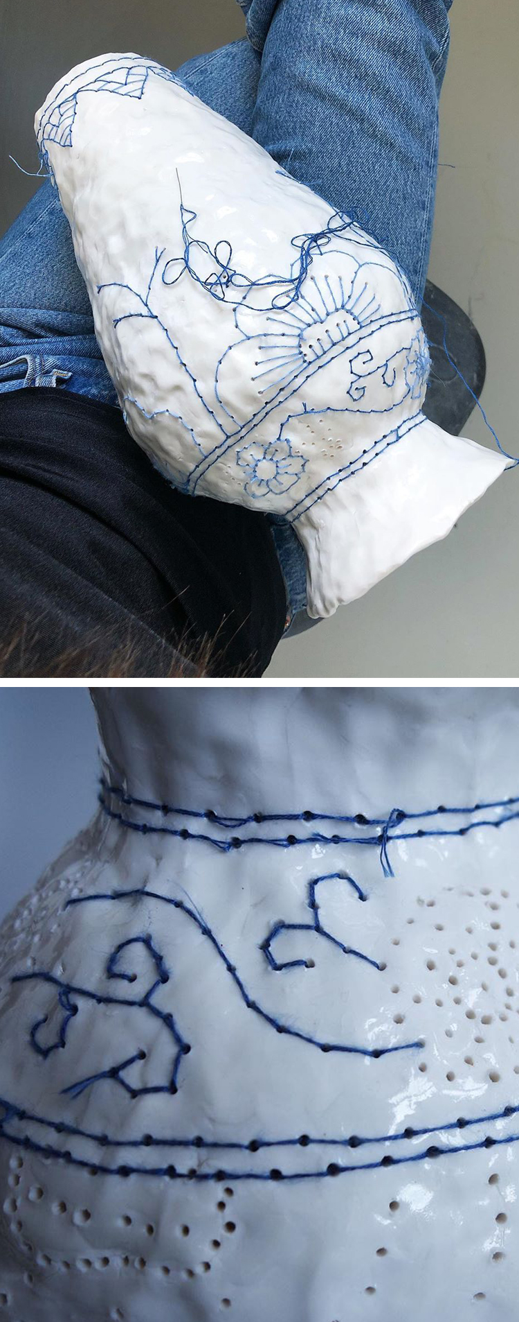 Embroidery on ceramics by Caroline Harrius