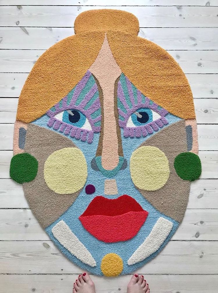 Rug art of a woman by Ina Dyreborg