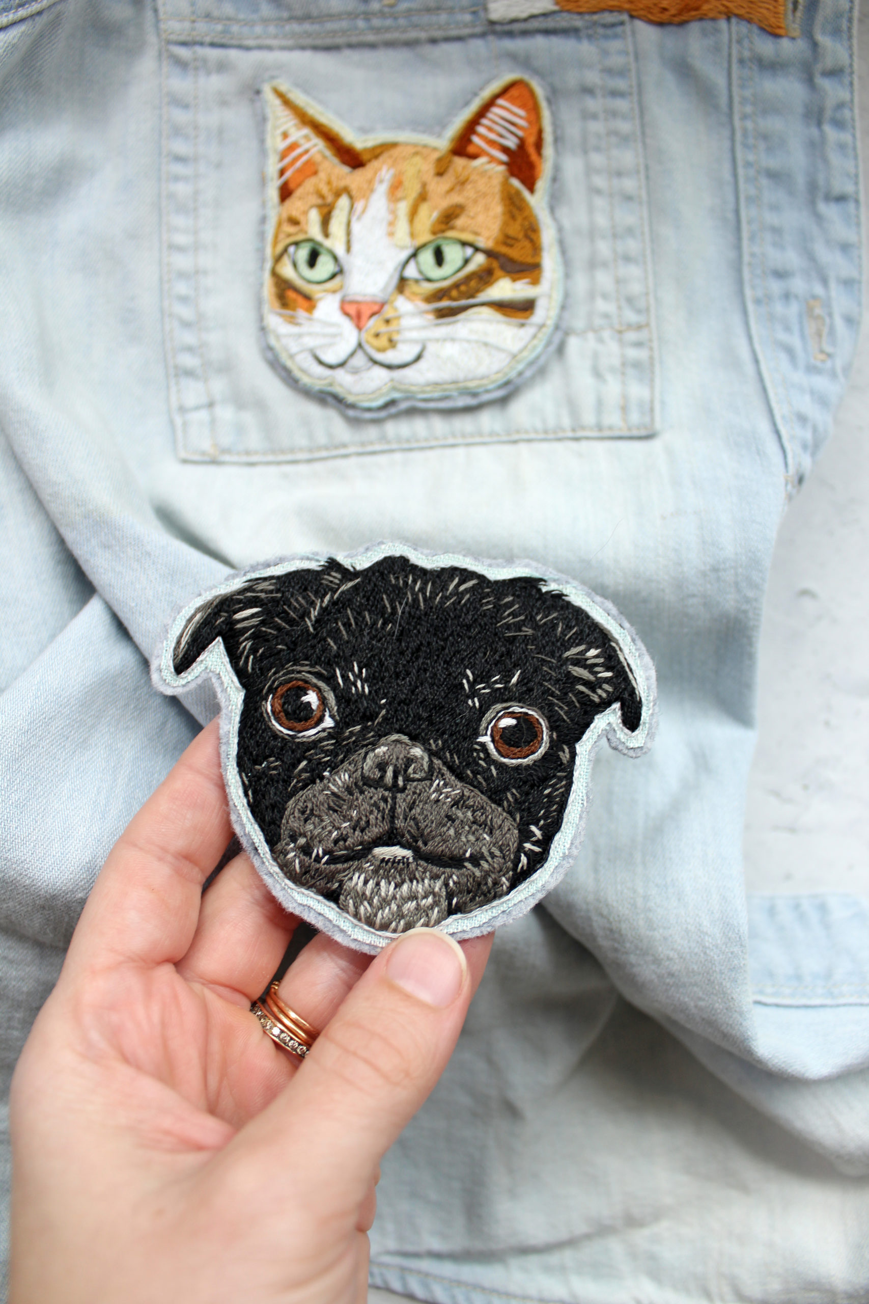 Custom embroidered pet patch by Brown Paper Stitch