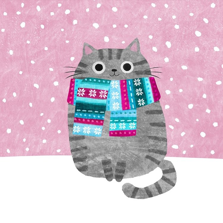 Cat Illustration Wearing a Scarf by Angie Rozelaar