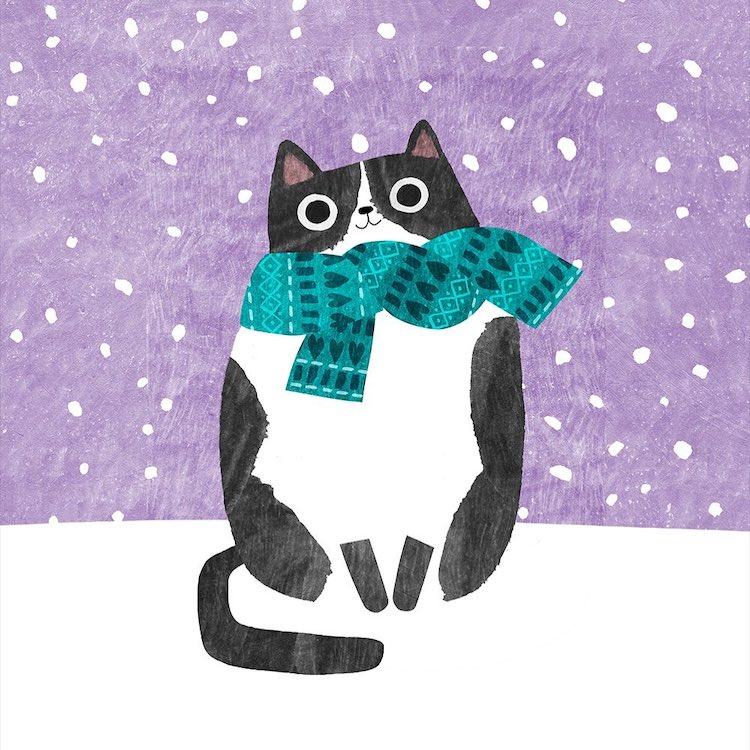 Winter Cat Paintings by Angie Rozelaar