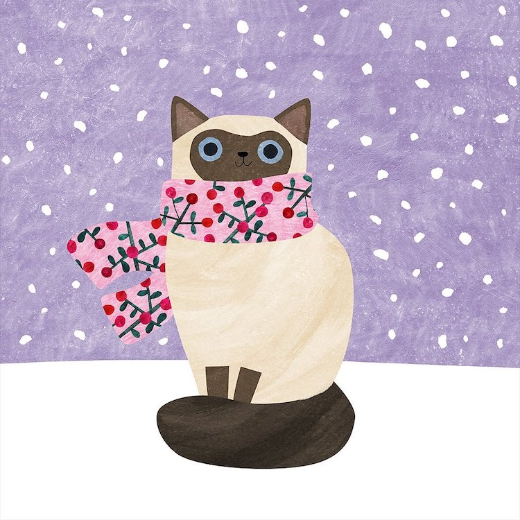 Winter Cat Paintings by Angie Rozelaar