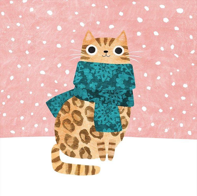 Kitty Wearing a Scarf by Angie Rozelaar