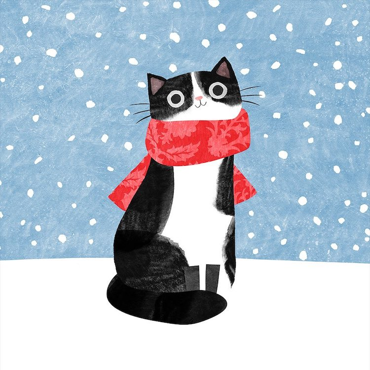 Kitty Wearing a Scarf by Angie Rozelaar