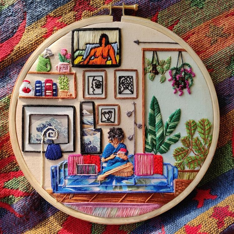 Get a Peek Into the Lives of Others With These Interior Embroideries