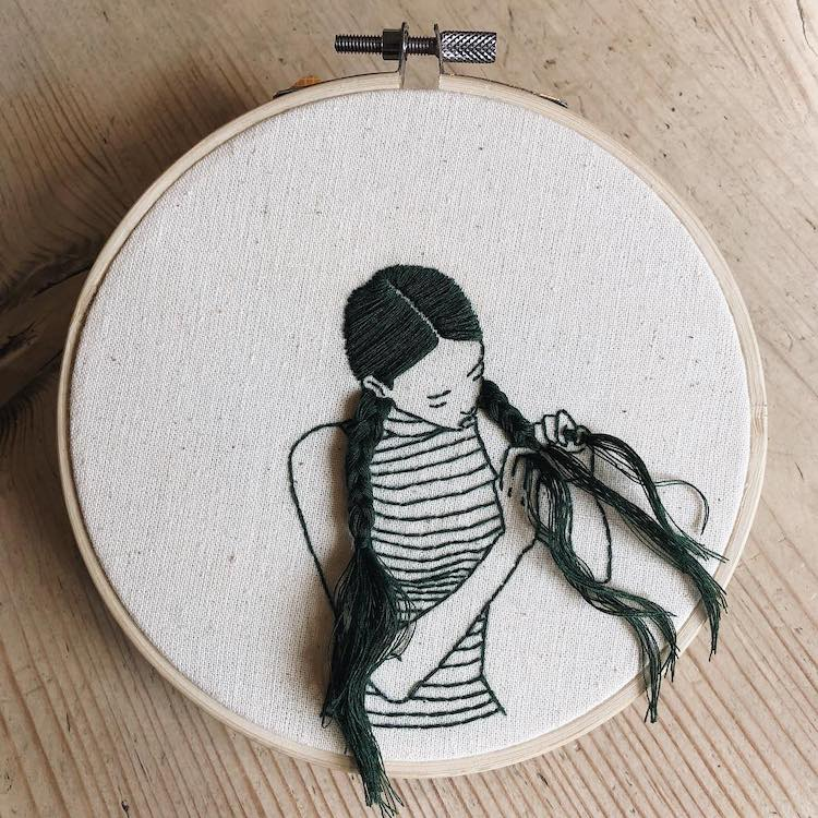 Braided Hair Embroidery